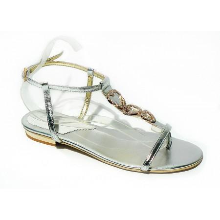 Płaskie, srebrne sandałki